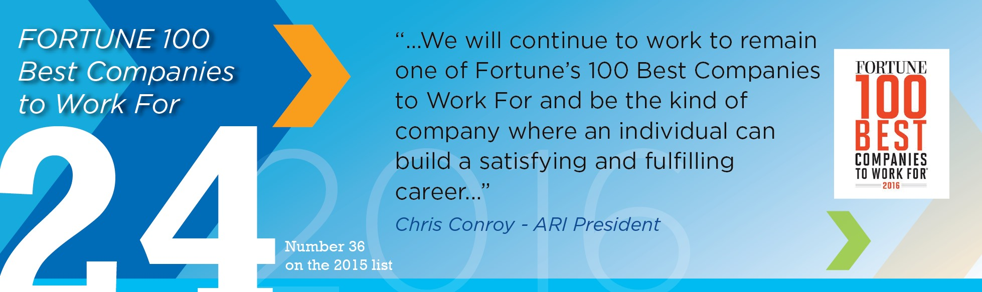 Number 24 in Fortune 100 Best Companies To Work For 2016®